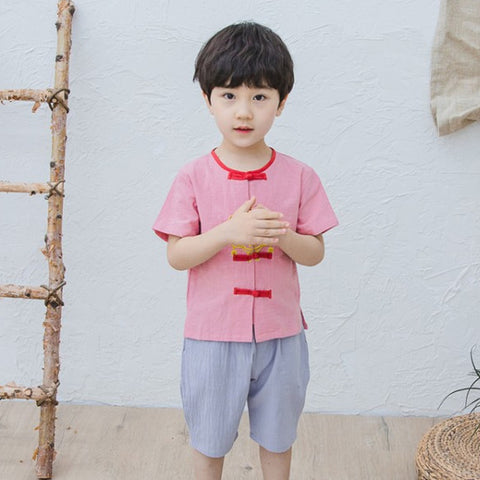2-8Y  Boys CNY Mandarin Collar Suits (BBSG-010)