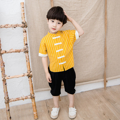 3-10Y  Boys Mandarin Collar Sets  (BBSG-011)