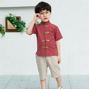 2-8Y  Boys Mandarin Collar Sets (BBSG-014)