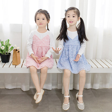 2-7Y Long-Sleeves False-Two-Pieces Lace Dress  (Pink, Blue Available)  (BGDD-005,006)