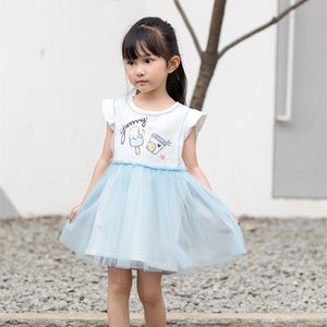 1-6Y  Girls Yummy Ice-Cream Tulle Dress (Pink, Blue Colors Available) (BGDD-011,BGDD-012)