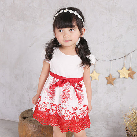 0-3Y  Baby Girls Red & White Lace Dress  (BGQ1-009)