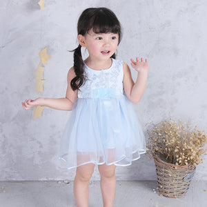 0-3Y  Baby Girls Light-Blue Lace Tulle Dress (BGQ1-011)
