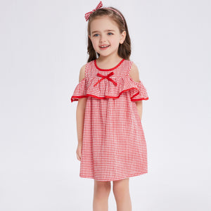 1-6Y Girl Off-Shoulder Dress in Red Gingham   (BGS1-009)