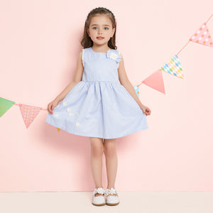 1-6Y  Girls Baby-Blue Checked Dress   (BGS1-017)