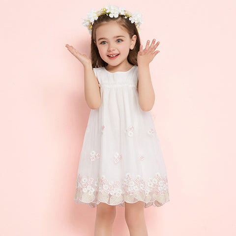1-6Y  Girls White Embroidered Floral Tulle Dress  (BGS1-019)