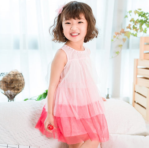 1-6Y  Girls Pink Layered Tulle Dress
