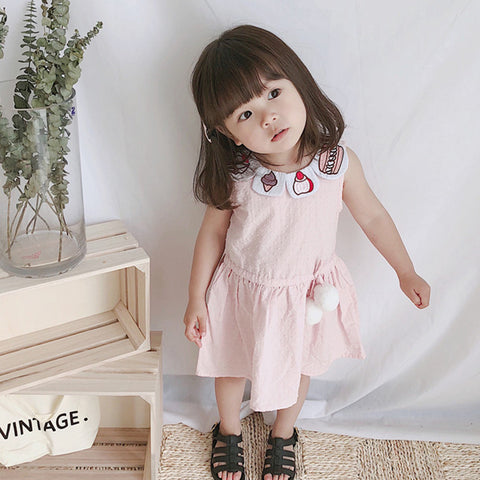 1-5Y  Girls Cupcake Collar Dress (BGW1-008)