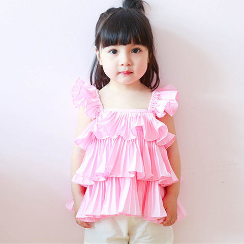 2-7Y  Girls Pink Ruffle Layered Top (BGTA-004) (ZA-19)