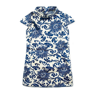 1-6Y  Girls Blue & White Qipao Dress (CSDC-012)