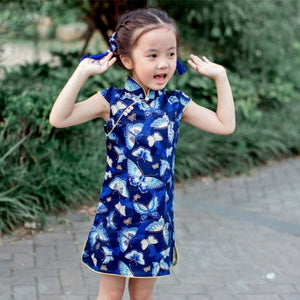 2-8Y  Girls Blue Butterfly Printed Qipao (CSDI-008)