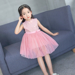 2-7Y  Girls Mandarin Collar Pin Lace Tulle Dress (CSDK-014)