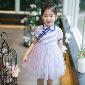2-7Y  Girls Modern Qipao Tulle Dress (CSDL-014)