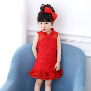0-3Y  Baby Girls CNY Lace Qipao Dress (CSDM-009)
