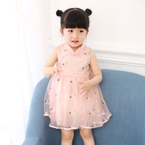 0-3Y  Baby Girls Mandarin Collar Embroidered Dress with Tulle Overlay (CSDM-010)