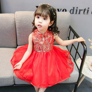 2-7Y   Girls Red Mandarin Collar Qipao Tulle Dress  (CSDM-011)