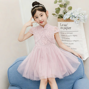 1-6Y  Girls Modern Lace Hanbok Tulle Dress  (CSDN-009)