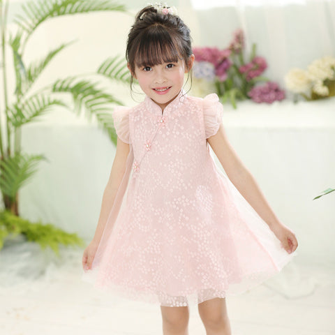 1-6Y Girls Mandarin Collar Retro Lace Dress  (CSDN-011)