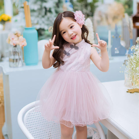1-7Y  Girls Cheongsam Tulle Dress (CSDN-017)