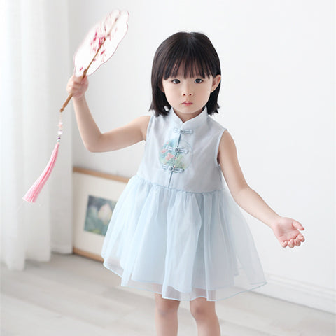 1-6Y  Girls Chinese Mandarin Collar Dress  (CSDP-008)