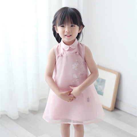 1-6Y  Girls CNY Dress with Tulle Overlay (CSDL-016)