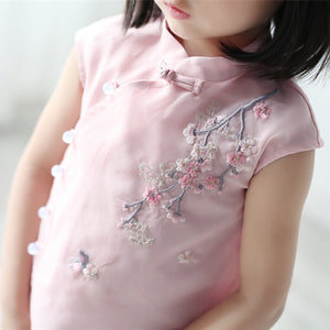 1-6Y  Girls Chinese Embroidered Shirt  (CSDQ-007)