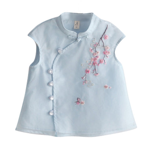 1-6Y  Girls Chinese Embroidered Shirt  (CSDQ-008)