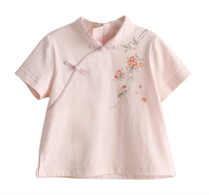 1-6Y  Girls Mandarin Collar T-Shirt  (CSDQ-009)