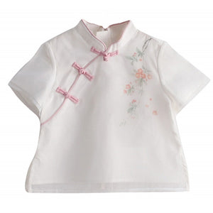 1-6Y  Girls Mandarin Collar T-Shirt  (CSDQ-010)