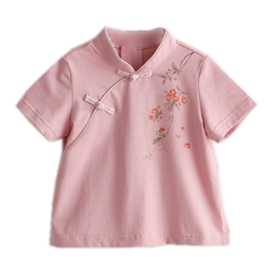 1-6Y  Girls Mandarin Collar T-Shirt  (CSDQ-011)