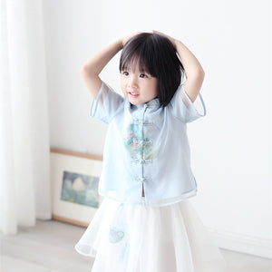 2-7Y  Girls Chinese Mandarin Collar Blouse (CSDQ-012)