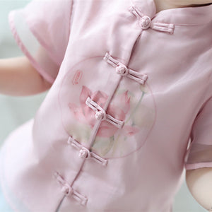 2-7Y  Girls Pink Chinese Mandarin Collar Blouse (CSDQ-013)