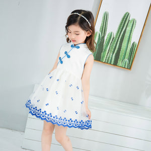 2-7Y  Girls Mandarin Collar Embroidered Qipao Dress (CSDC-007)