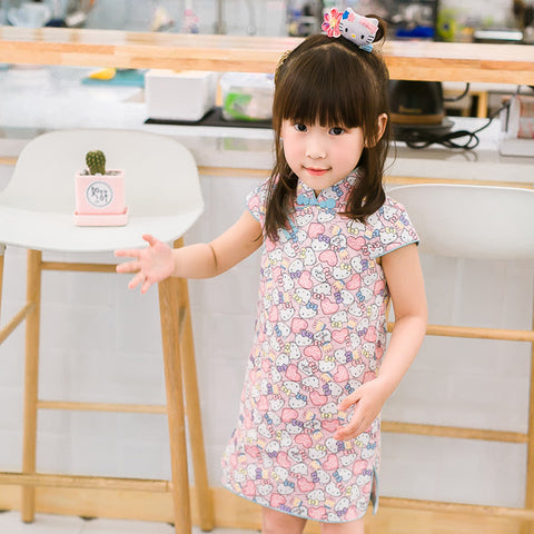 2-8Y  Girls Printed Cotton Qipao Dress (CSDR-017)