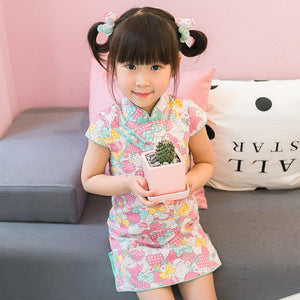 2-8Y  Girls Printed Cotton Qipao Dress  (CSDR-018)