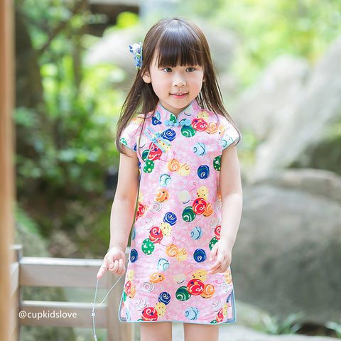 2-8Y  Girls Printed Cotton Qipao Dress (CSDR-019)