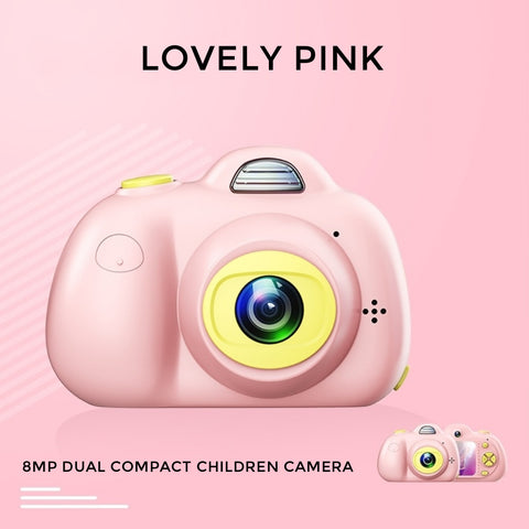 8MP Dual Compact Children Camera HD video - Lovely Pink (Pre-Order)