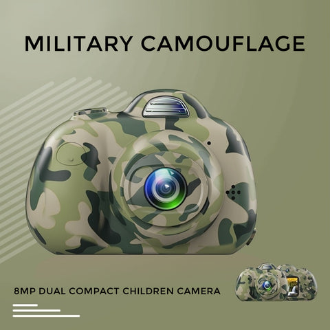 8MP Dual Compact Children Camera HD video - Military Camouflage (Pre-Order)