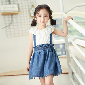 4-10Y  Girls Ruffle Top + Denim Suspender Skirt  Two Piece Sets  (NGD2-019)
