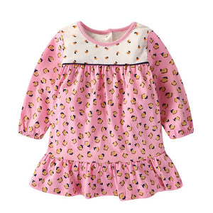 1-7Y  Girls Floral Long Sleeves T-Dress (GGD4-016)