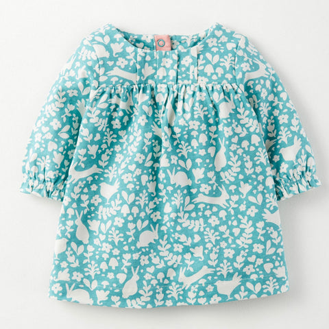 1-8Y  Girls Long Sleeves Printed T-Dress in Floral Turquoise (GGD4-019)