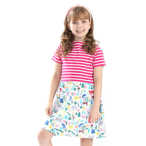 0-6Y  Girls Casual Stripe Printed T-Dress  (GGD5-009)