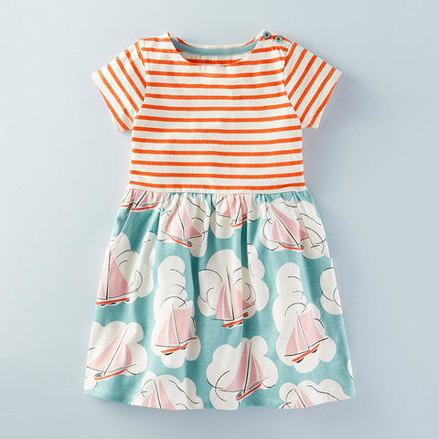 0-6Y  Girls Casual Printed T-Dress  (GGD5-011)