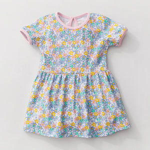 0-6Y  Girls Casual Floral Cotton T-Dress  (GGD6-002)  (AH-12)
