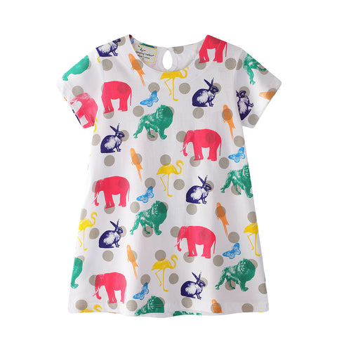 0-6Y  Girls Casual Animal Printed T-Dress (GGD6-006)