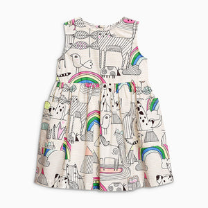 0-6Y  Girls Casual Cotton Printed Dress  (GGD6-013)