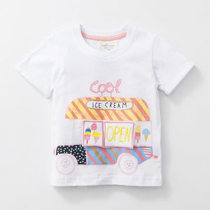 1-6Y  Girls White Embroidered Ice-Cream-Car Tee  (GGT6-005)