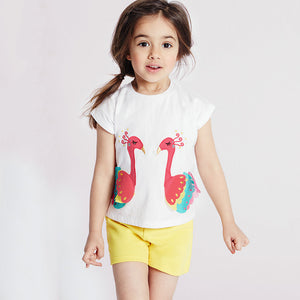 1-6Y  Girls White Embroidered Peacock Tee  (GGT6-007)