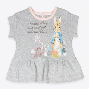 1-6Y  Girls Grey Rabbit Tee (GGT6-008)
