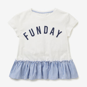 1-6Y  Girls White Fun-Day Tee  (GGT6-012)